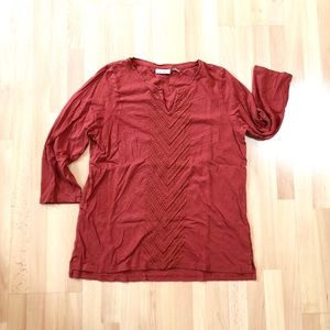 L. L. Bean 3/4 sleeve embroidered shirt